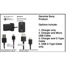 Genuine Sony UCH 12 Quick 3.0 Mains Charger & USB Cable for Sony Xperia Mobiles