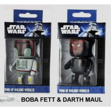 Set of 2 Official Star Wars Wind-Up Walking Wobbler Mini Figure Character Toy