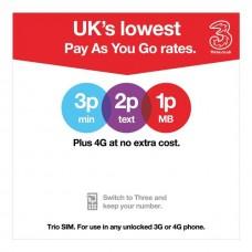 3 Network (UK) Pre-Pay / Pay as You Go Unregistered Triple SIM Card - Standard, Micro, Nano