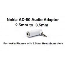 AD-50 2.5mm Male to 3.5mm Female Audio Adapter Nokia 6300 6301 6500 E71 E66 E51