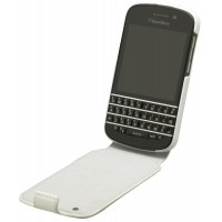 Genuine BlackBerry Q10 White Leather Flip Shell Case Cover Pouch ACC-50707-201