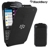 Genuine BlackBerry Q10 Black Leather Flip Shell Case Cover Pouch ACC-50707-201