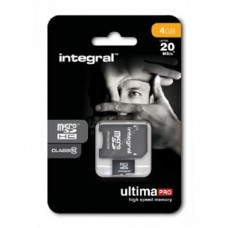 Integral 4GB 4 GB Class 10 Micro SDHC Card & SD Adaptor for Smart Phones
