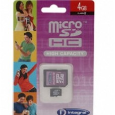 Integral 4GB 4 GB Micro SDHC Card & SD Adaptor for Smart Phones