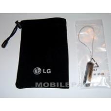 Genuine LG Black Velvet Mobile Phone Case / Pouch & Dangle Charm